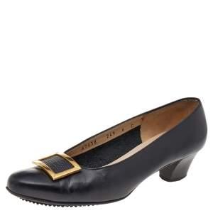 Salvatore Ferragamo Black Leather Buckle Pumps Size 36.5