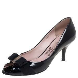 Salvatore Ferragamo Black Patent Leather Vara Bow Pumps Size 37