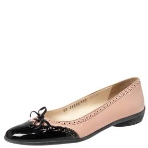 Salvatore Ferragamo Pink/Black Leather And Patent Leather Graziosa Bow Ballet Flats Size 38