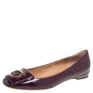 Salvatore Ferragamo Purple Patent Leather Rebi Gancio Ballet Flats Size 40.5
