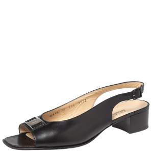 Salvatore Ferragamo Black Leather Bow Slingback Sandals Size 39