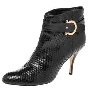 Salvatore Ferragamo Black Python Embossed Leather Ankle Boots Size 41.5