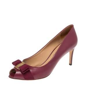 Salvatore Ferragamo Burgandy  Leather Vara Bow Peep Toe Pumps Size 39.5