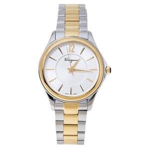 Salvatore Ferragamo Silver White Two-Tone Stainless Steel FFV05 0016 Women's Wristwatch 33 mm