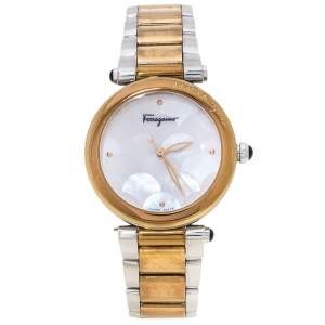 Salvatore Ferragamo Mother of Pearl Two-Tone Stainless Steel Idillio F76 Women's Wristwatch 34 mm