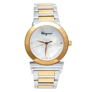 Salvatore Ferragamo Mother Of Pearl Two-Tone Stainless Steel Grande Maison FG2 Women's Wristwatch 33 mm