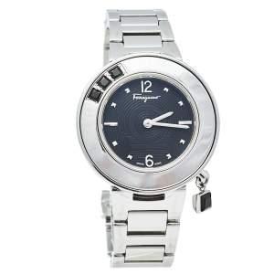 Salvatore Ferragamo Black Stainless Steel Gancino Sparkling F64 Women's Wristwatch 36 mm