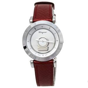 Salvatore Ferragamo Silver Stainless Steel Leather Minuetto FQ4020013 Women's Wristwatch 37 mm