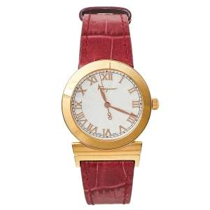 Salvatore Ferragamo Silver Gold Plated Stainless Steel and Leather Grande Maison F72 Women's Wristwatch 33 mm