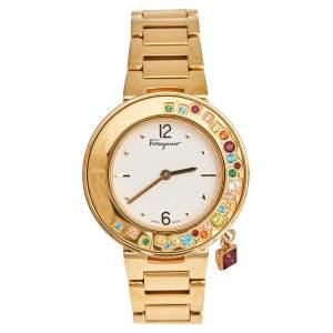 Salvatore Ferragamo White Gold Plated Stainless Steel Gancino FF5  FF5020013 Women's Wristwatch 36 mm