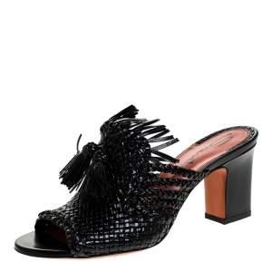 Santoni Black Woven Leather Fringe Detail Open Toe Mules Size 38.5
