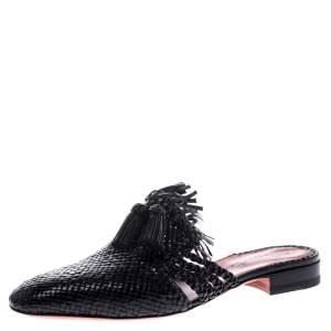 Santoni Black Woven Leather Fringe Detail Flat Mules Size 36