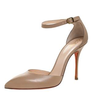 Santoni Beige Leather Pointed Toe Ankle Strap Sandals Size 39.5