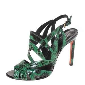 Santoni Green Python Leather Strappy Slingback Sandals Size 39