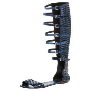 Santoni Black/Metallic Blue Leather Gladiator Sandals Size 40