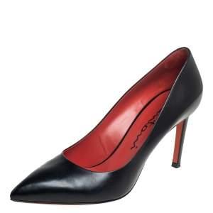 Santoni Black Leather Pointed Toe Pumps Size 40