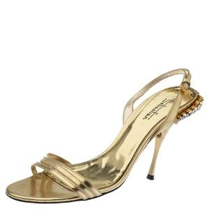 Sebastian Gold Leather Crystal Embellished Heel Slingback Sandals Size 38