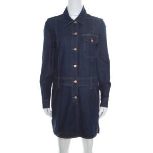 See by Chloe Indigo Dark Wash Denim Long Sleeve Shirt Dress M