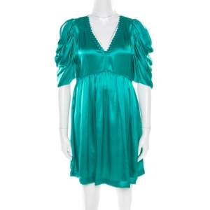 See by Chloe Green Plunge Neck Applique Detail Satin Dress S