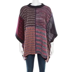 See by Chloe Multicolor Patchwork Oversized Poncho Style Sweater XS