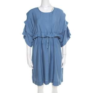 See by Chloe Paloma Blue Waist Tie Pleat Detail Dress S