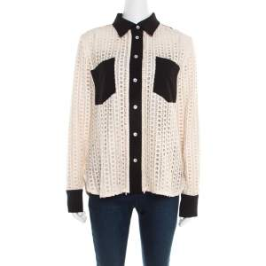 See by Chloe Cream Lace Overlay Contrast Patch Pocket Button Front Shirt L
