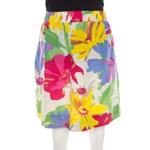 See By Chloe Mutlicolor Floral Print Cotton Silk Gathered Mini Skirt M