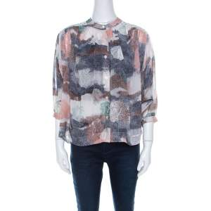 See by Chloe Multicolor Georgette Abstract Print Oversized Blouse S