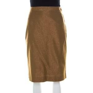 See by Chloe Brown Wool Blend Metallic Gold Pinstriped Pencil Skirt M