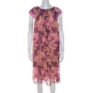 See by Chloe Pink Floral Print Crepe Ruffled Neck Shift Dress M