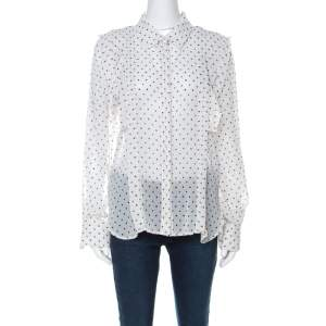 See by Chloe Off White Polka Dot Georgette Ruffled Blouse M