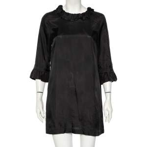 See by Chloe Black Taffeta Ruffled Neck Detail Mini Dress S