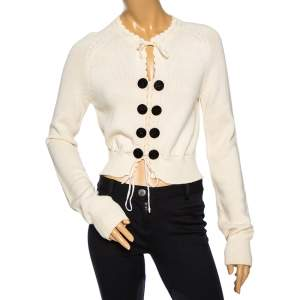 See by Chloe Cream Knit Gathered Tie Detail Long Sleeve Sweater M