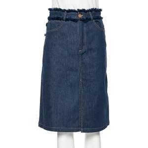 See by Chloe Blue Denim Fringe Trimmed Detailed Skirt S