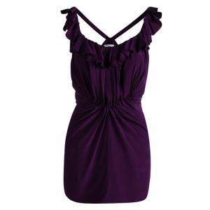 See By Chloe Purple Silk Ruffled Sleeveless Top M