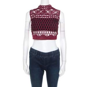 Self Portrait Burgundy Cutout Lace Sleeveless Crop Top S