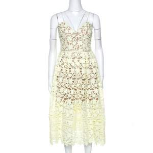 Self Portrait Pale Yellow Floral Guipure Lace Azaelea Midi Dress L