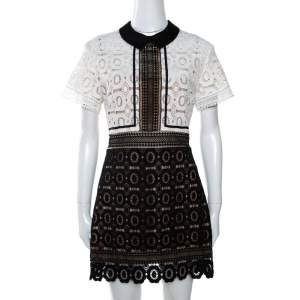 Self-Portrait Monochrome Guipure Lace Felicia Mini Dress L