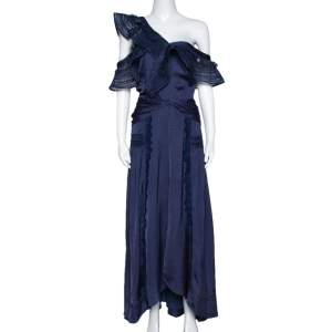 Self Portrait Navy Blue Lace Frilled One Shoulder Midi Dress L