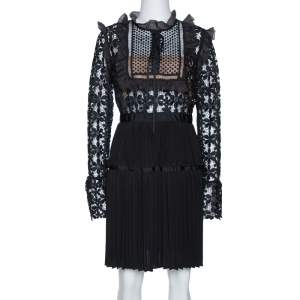 Self Portrait Black Guipure Lace & Organza Trim Pleated Adeline Dress M
