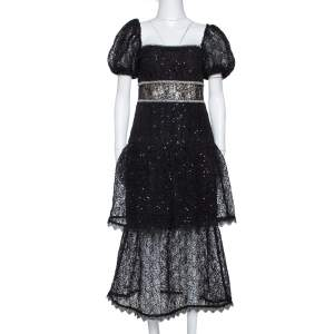 Self Portrait Black Sequin Circle Lace Midi Dress M