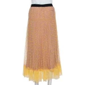Self Portrait Yellow & Beige Tulle Polka Dot Midi Skirt S