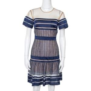 Self Portrait Navy Blue Striped Mesh Peplum Dress S