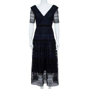 Self-Portrait Black & Navy Spiral Panel Lace Midi Dress M
