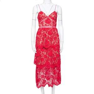 Self-Portrait Crimson Red Guipure Lace Midi Dress S