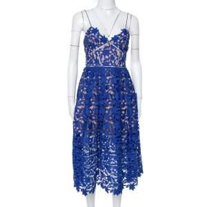 فستان سيلف بورتريت ميدي أئاليا دانتيل جوبير أزرق S