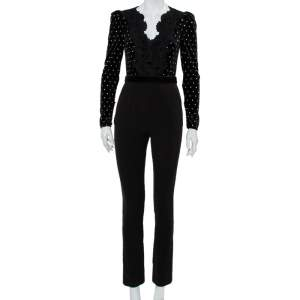 Self-Portrait Black Velvet & Crepe Stone Embellished Paneled Jumpsuit S
