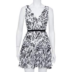 Self-Portrait Monochrome Leopard Printed Plisse Chiffon Sleeveless Mini Dress S