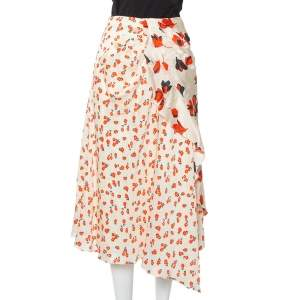 Self-Portrait Cream Floral Printed Satin Asymmetric Skirt M