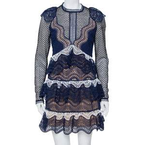 Self Portrait Navy Blue Wave Guipure Lace Ruffled Mini Dress M
